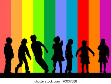 Vector drawing silhouette crowds childrens on rainbow