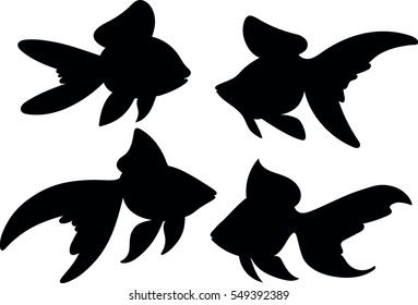 Vector drawing silhouette of a goldfish