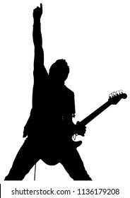 Vector drawing. Silhouette of man with electric guitar.