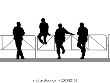 Vector drawing silhouette of a man near metal fence