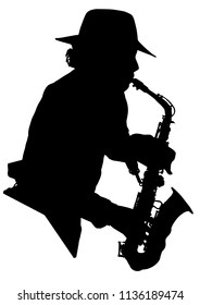 Vector drawing. Silhouette of a man with a saxophone. Saxophonist.