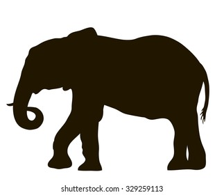 Vector drawing silhouette of a moving elephant