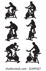 vector drawing silhouettes of men and women on bike