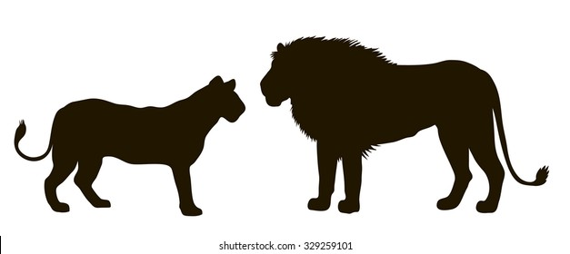 vector drawing silhouettes of a pair of lions