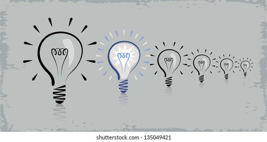Vector drawing of the six light bulbs with the rays.