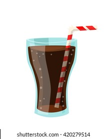 Vector drawing of a soda cups in flat cartoon style. Illustration for design fast food menu. Lemonade isolated icons.