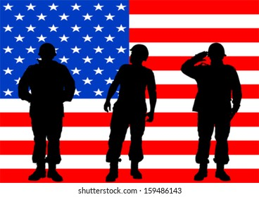 Vector drawing of a soldier in uniform with flag
