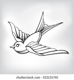 Vector drawing of a / Sparrow Tattoo Line Art / Vintage tattoo style, easy to edit groups and layers, easy to add colours with simple shape layers, no effects or gradients used.