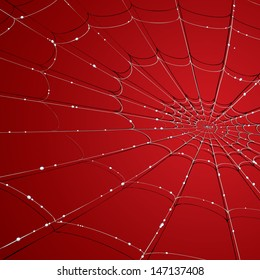 Vector drawing of a spider web/Spider web/ Easy to edit layer of a spider web background, gradients and meshes used, easy to edit red color in background.