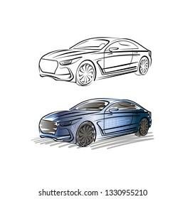 Vector drawing sports car