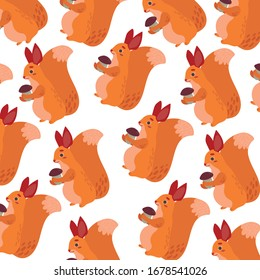 Vector drawing squirrel. Squirrel. Ideal for fabric, wrapping paper, postcards, posters, wallpapers, textiles and prints.