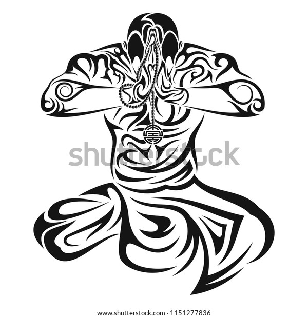 Vector Drawing Statue Buddha Put Hands Stock Vector Royalty Free
