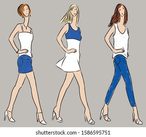 Vector drawing of striding slender women in denim summer clothing