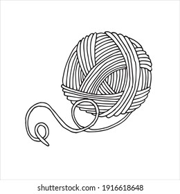 vector drawing in the style of doodle. a ball of yarn for knitting. wool in a skein, hobby logo, knitting, crocheting, needlework