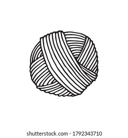 vector drawing in the style of doodle. a skein of yarn for knitting. simple drawing of a ball of thread for knitting and crocheting. symbol of handmade, homework, hobby. I love to knit.