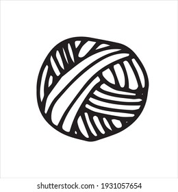 vector drawing in the style of doodle wool ball. a ball of wool for knitting, crocheting. simple line drawing, logo, icon