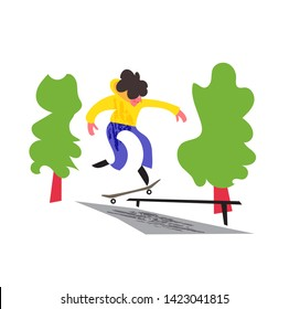 vector drawing style of skateboarder riding skateboard
