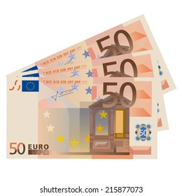 Vector drawing stylized 50 Euro bills