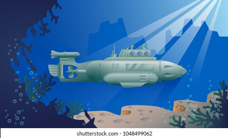 Vector drawing of submarines in a submerged state in the sun.