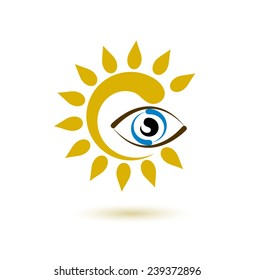 Vector drawing of sun and eye on a white background. Symbols, logo and icon.