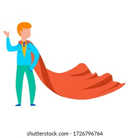 Vector drawing of a superhero doctor in a red cloak not a white isolated background. Medical worker flat, cartoon. Registration of cards, banners, printing on fabric, covers