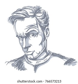 Vector drawing of suspicious man with short hair. Black and white portrait of attractive skeptic guy.