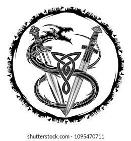 The vector drawing of swords of the Viking and dragon biting a tail. Fantastic snake. Image of a sacred sign of Vikings. Triskel. Celtic sacral symbol. Trinity. Norman culture. Vector illustration.