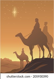 vector drawing of three wisemen on the desert with star shining