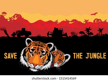 Vector drawing of a tiger and a tiger cub. Poster dedicated to the protection of animals and nature.
