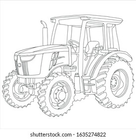 Vector drawing of the tractor. The drawing is inspired by a real machine. All lines in the drawing can be edited. The background is blank.