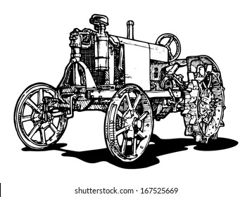 Vector drawing of tractor stylized as engraving.