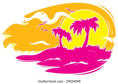 Vector drawing of a tropical sunset with palm trees. Only three colors used.