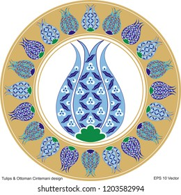 Vector drawing tulip design for ceramic plate. It is mostly prepared with Gold, Red, Blue and White colors. It is used as wall decoration, dinner plate, icon, avatar, ceramic and tile motif, gift card