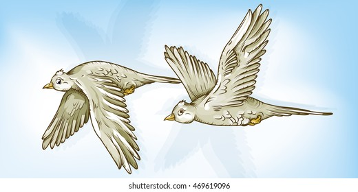 Vector drawing of Two / Flying Birds / Easy to edit layers and groups, Mesh and transparencies only used in background layer. Simple to select each bird individually