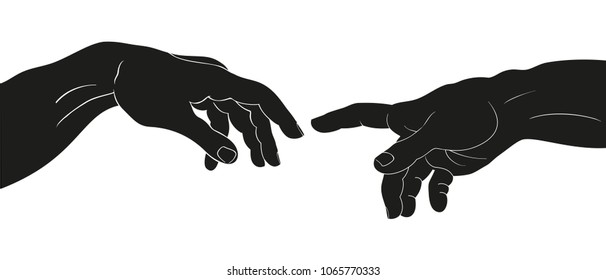 Vector drawing of two hands isolated on white background.