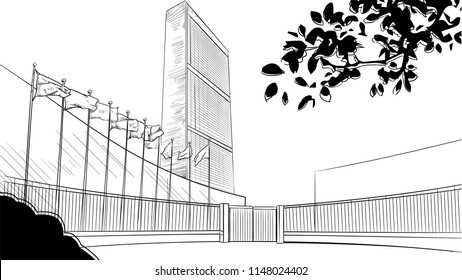 Vector drawing of United Nations Headquarter Building in New York sketchy illustration