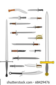 Vector drawing of various daggers, bayonets and swords, all battle weapons of war, from different nations and eras.
