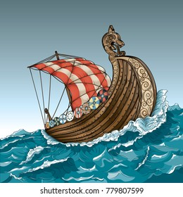 Vector drawing of a / Viking Ship / Easy to edit groups and layers,