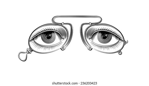 Vector drawing of vintage eyeglasses on the white background. Retro image.