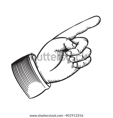 Vector Drawing Vintage Finger Pointing Line Stock Vector Royalty