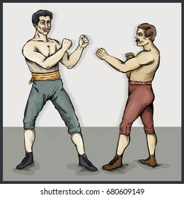 Vector drawing of Vintage / Old Timey Boxers / Easy to edit layers and groups, easy to colourize shape objects, No gradients or effects used.