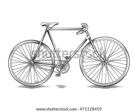 Vector Drawing Vintage Race Bike Line Stock Vector Royalty Free