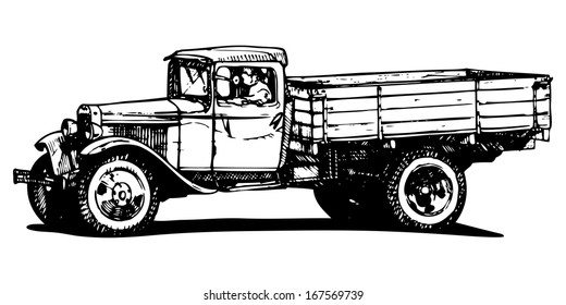 Vector drawing of vintage truck stylized as engraving.