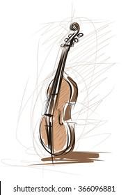 Vector drawing of violin