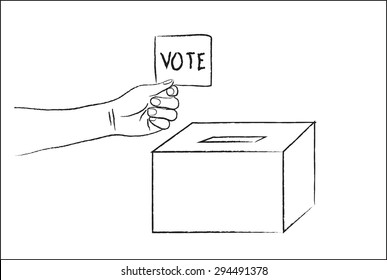 Vector drawing Vote ballot with box.