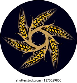 Vector drawing with wheat spike pattern. It can be used as a poster, logo, emblem, icon, avatar, wall decoration, wall table, design related to agricultural activity.