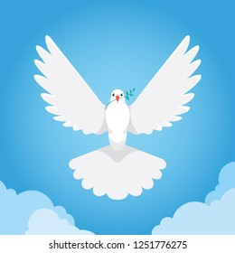 vector drawing of a white dove with the sky