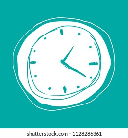 Vector drawing of a white melting clock on turquoise background, surrealist concept, Dali style, time concept dadaism concept