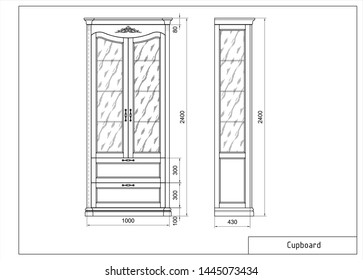 Vector drawing of wooden cupboard