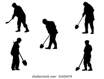 Vector drawing working with shovels. Silhouette on white background